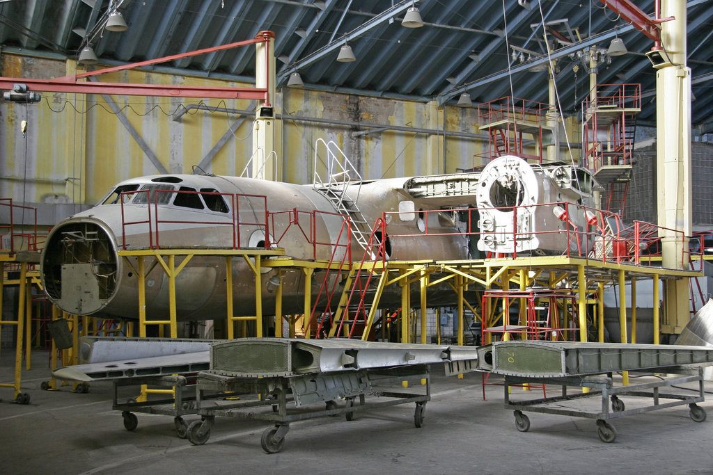 Ukraine, Kiev Repair Plant, 2015. Overhaul of aircraft metal han